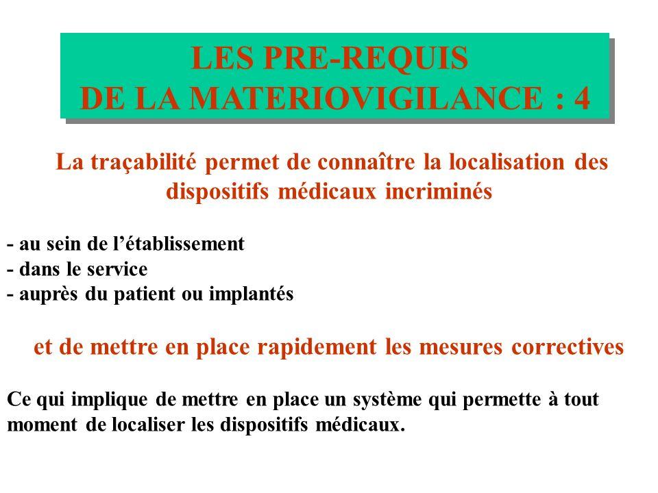 LES PRE-REQUIS DE LA MATERIOVIGILANCE : 3 LES PRE-REQUIS DE LA MATERIOVIGILANCE : 3 La matériovigilance nécessite une connaissance des dispositifs méd