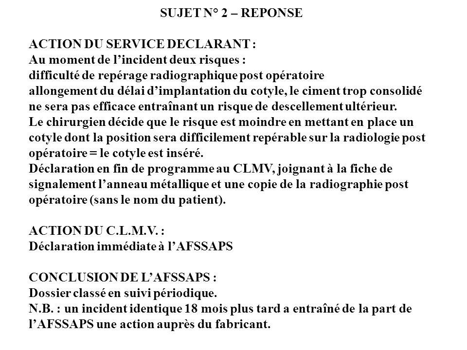 SUJET N° 2 SIGNALEMENT sur un cotyle DESCRIPTION DES EVENEMENTS : Bloc opératoire dorthopédie. Intervention chirurgicale pour une PTH : au moment de s