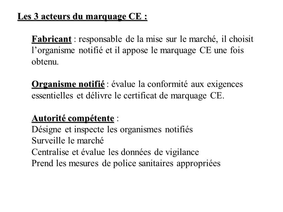 Les 3 acteurs du marquage CE : Fabricant Fabricant : responsable de la mise sur le marché, il choisit lorganisme notifié et il appose le marquage CE une fois obtenu.