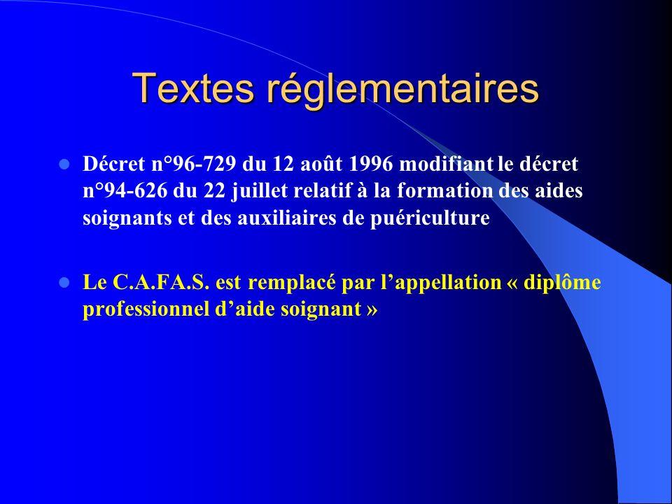 Textes réglementaires Décret n°96-729 du 12 août 1996 modifiant le décret n°94-626 du 22 juillet relatif à la formation des aides soignants et des aux