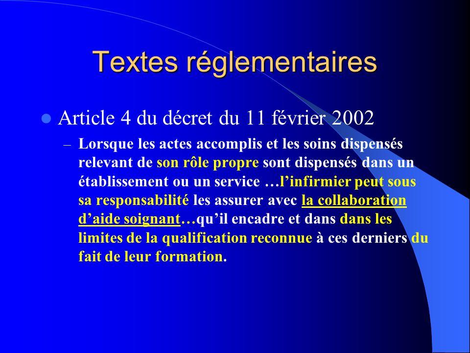 Textes réglementaires Article 4 du décret du 11 février 2002 – Lorsque les actes accomplis et les soins dispensés relevant de son rôle propre sont dis