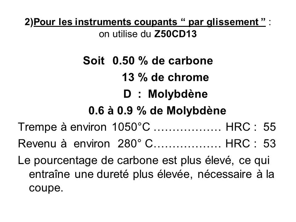 Z40CD14 Soit0.40% de carbone 14 % de chrome 0.8% de Molybdène - Le taux de carbone étant plus élevé que pour les instruments à pression, pour maintenir linoxydabilité, le taux de chrome a soit été augmenté, soit on y a ajouté du Molybdène.