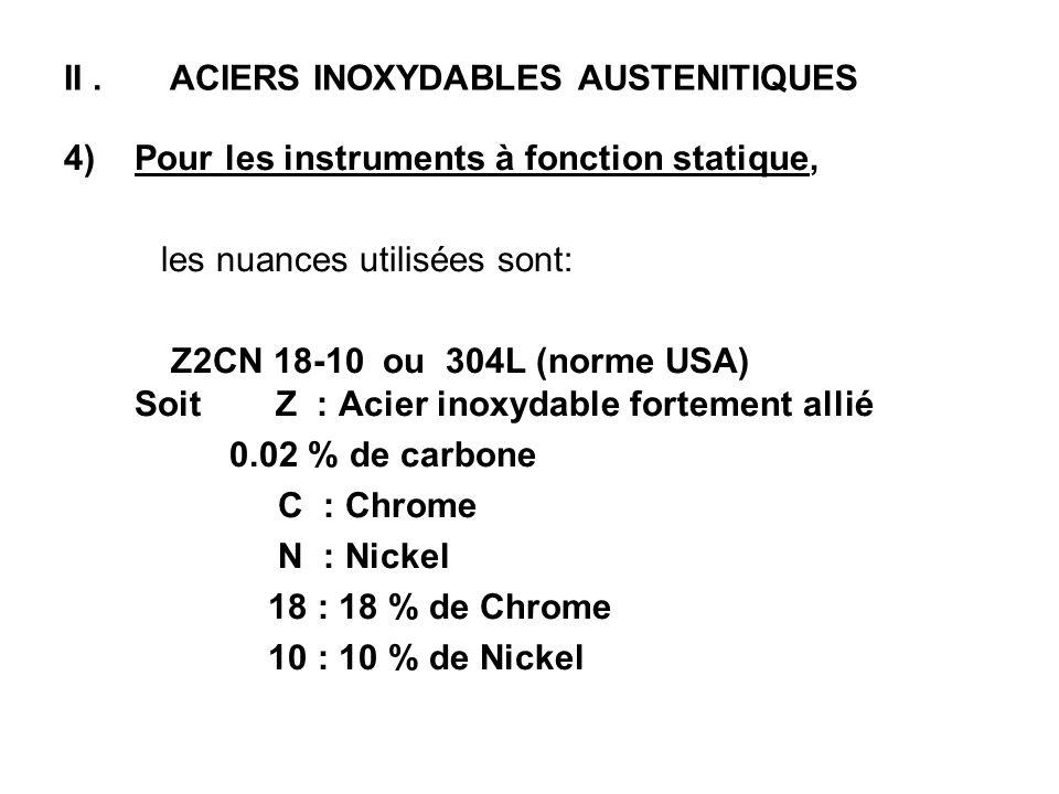 II. ACIERS INOXYDABLES AUSTENITIQUES 4)Pour les instruments à fonction statique, les nuances utilisées sont: Z2CN 18-10 ou 304L (norme USA) Soit Z : A