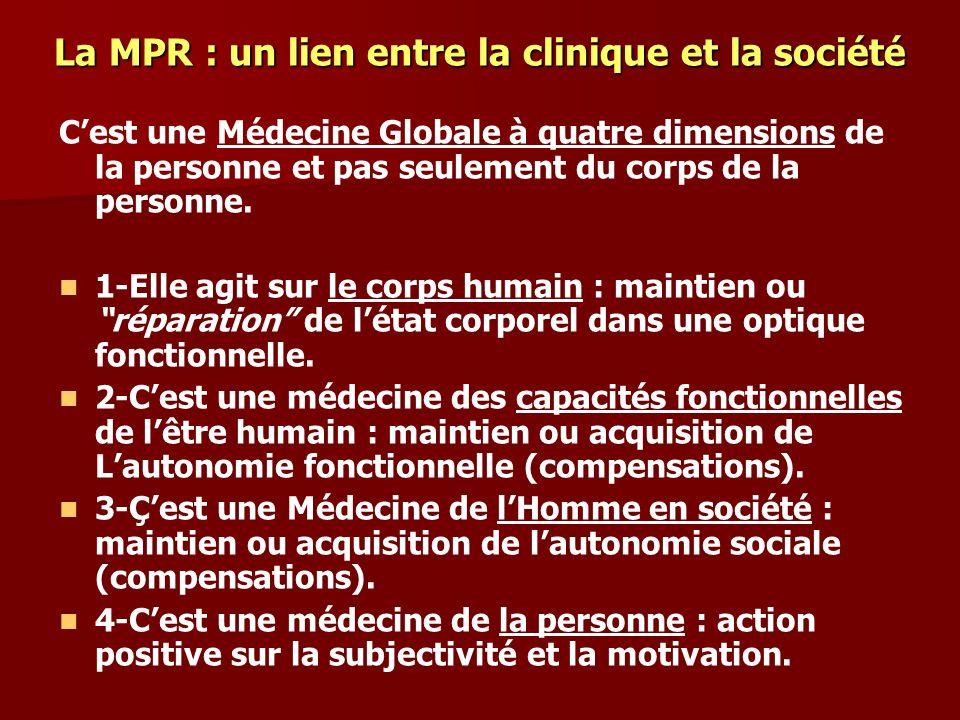 La MPR : un lien entre la clinique et la société Cest une Médecine Globale à quatre dimensions de la personne et pas seulement du corps de la personne