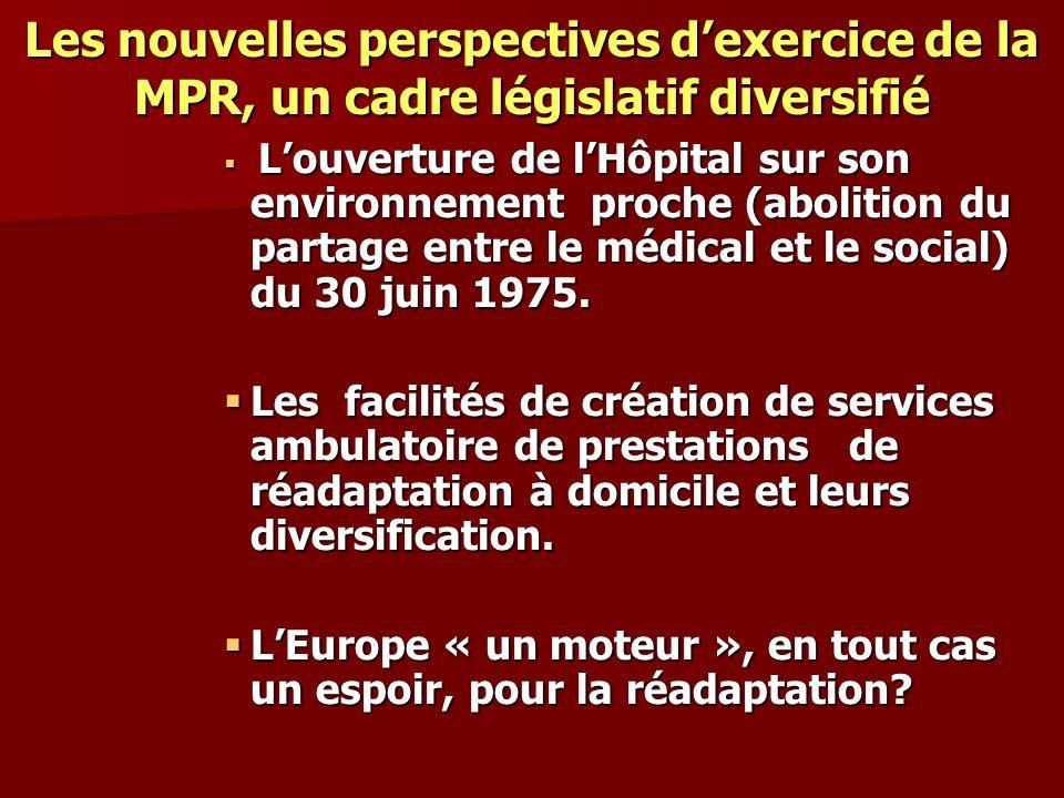 Les nouvelles perspectives dexercice de la MPR, un cadre législatif diversifié Louverture de lHôpital sur son environnement proche (abolition du parta