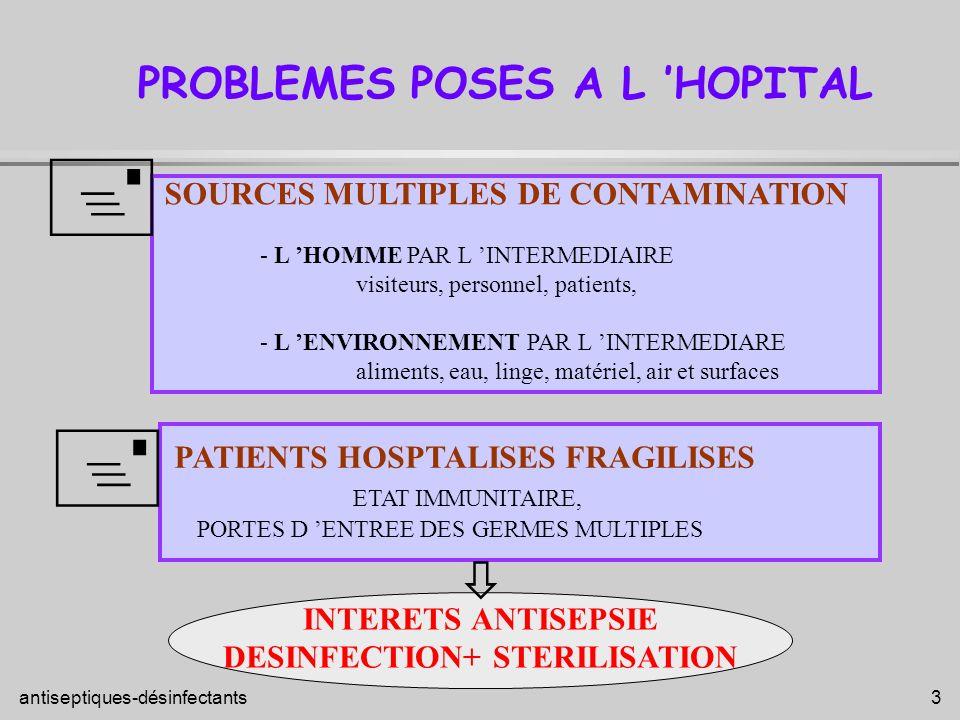 antiseptiques-désinfectants 3 PATIENTS HOSPTALISES FRAGILISES ETAT IMMUNITAIRE, PORTES D ENTREE DES GERMES MULTIPLES PROBLEMES POSES A L HOPITAL SOURC