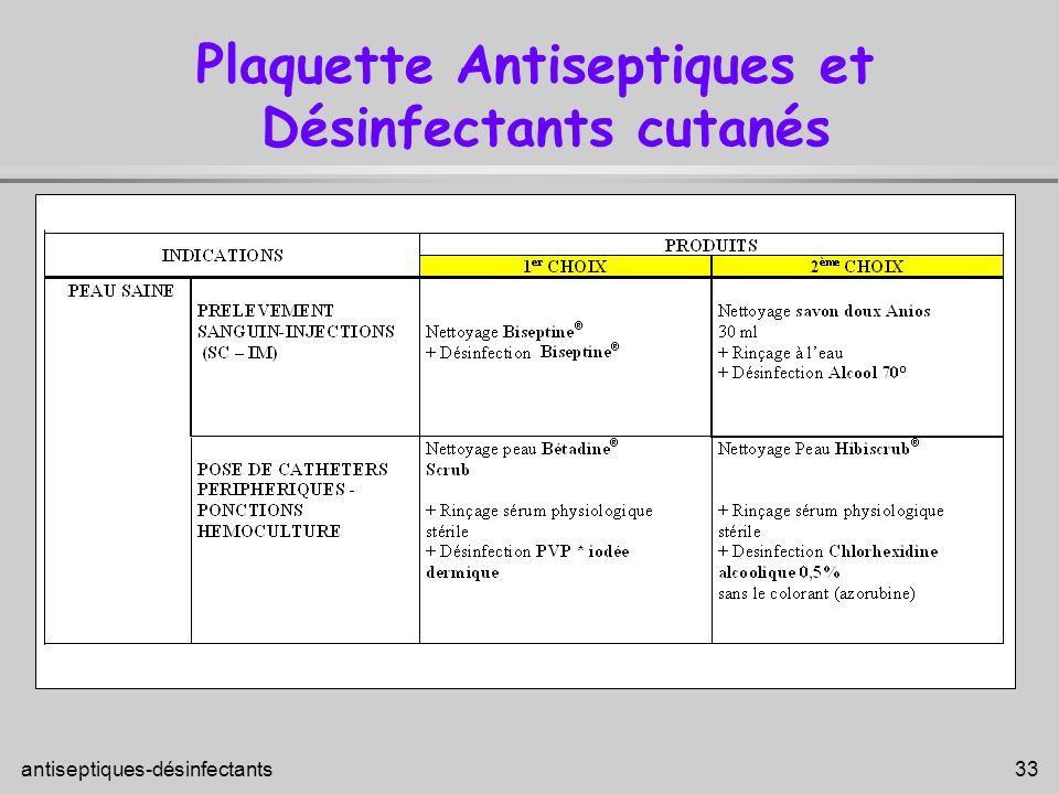 antiseptiques-désinfectants 33 Plaquette Antiseptiques et Désinfectants cutanés