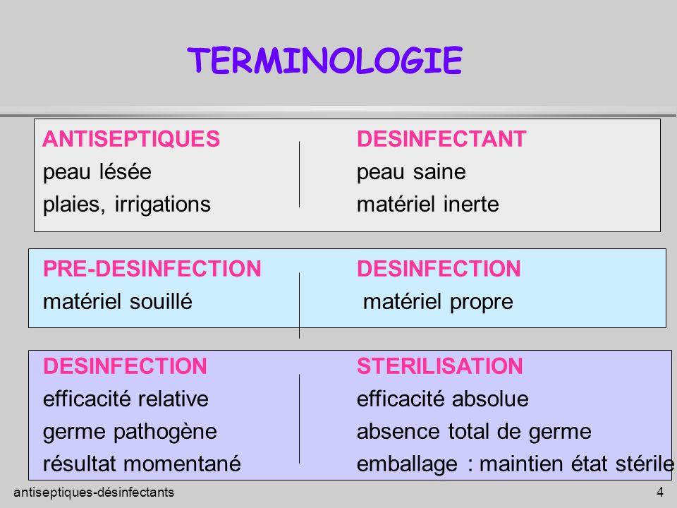 antiseptiques-désinfectants 5 FACTEURS INFLUENTS SUR L ACTIVITE PHYSIQUES - température, lumière, - pH CHIMIQUES - dureté de l eau : charge en Ca et Mg - matières organiques MICROBIOLOGIQUES - nature du germe - nombre de germes