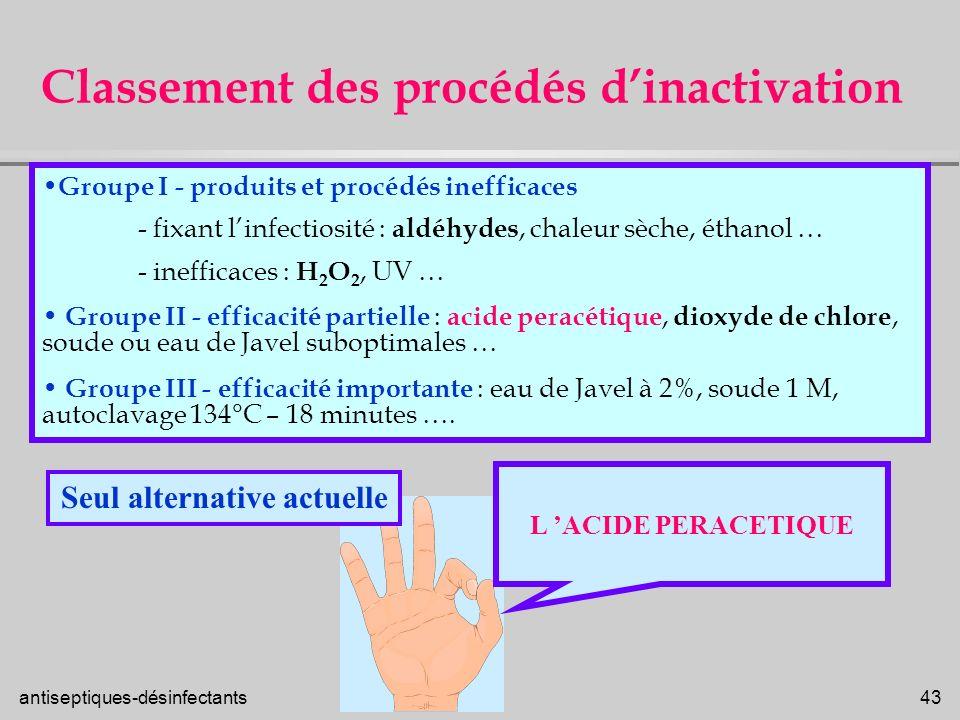antiseptiques-désinfectants 43 Classement des procédés dinactivation Groupe I - produits et procédés inefficaces - fixant linfectiosité : aldéhydes, c