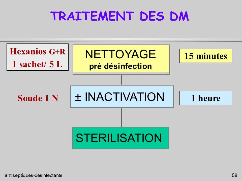 antiseptiques-désinfectants 58 STERILISATION TRAITEMENT DES DM NETTOYAGE pré désinfection 15 minutes Hexanios G+R 1 sachet/ 5 L ± INACTIVATION 1 heure
