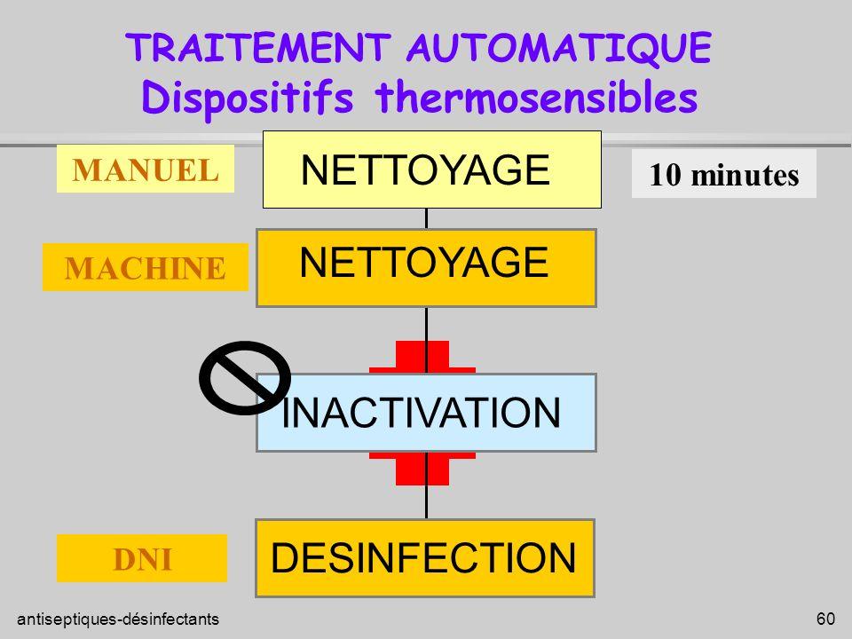 antiseptiques-désinfectants 60 DESINFECTION INACTIVATION NETTOYAGE TRAITEMENT AUTOMATIQUE Dispositifs thermosensibles 10 minutes MANUEL MACHINE DNI