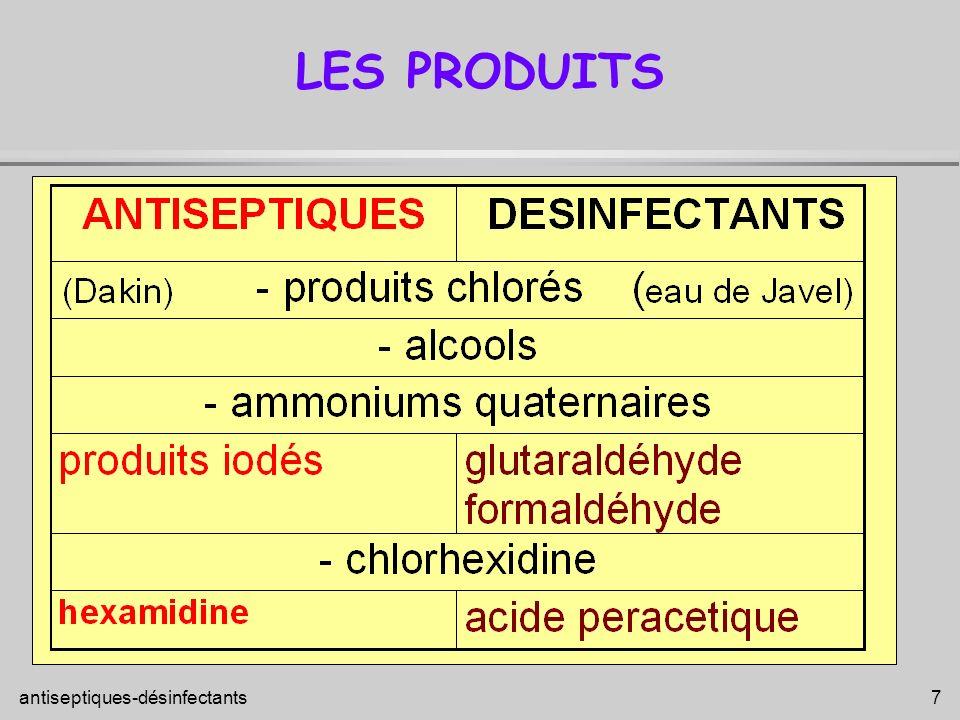 antiseptiques-désinfectants 28 CLASSIFICATION DES ANTISEPTIQUES 3- Les antiseptiques mineurs : bactériostatiques et à spectre étroit Diamidines : Hexamidine (Hexomédine ) Acides : acide borique à 3% Dérivés métalliques : Nitrate d argent, Sulfates de cuivre et zinc (Ramet, Dalibour Acide ) 5- Les produits considérés à tort comme antiseptiques Colorants : Eosine aqueuse, Solution de Millian, Violet de Gentiane 4- Les antiseptiques à déconseiller (toxicité et effets indésirables importants) Dérivés mercuriels : Chromaplaie, Mercuresceine