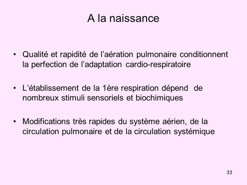 33 A la naissance Qualité et rapidité de laération pulmonaire conditionnent la perfection de ladaptation cardio-respiratoire Létablissement de la 1ère