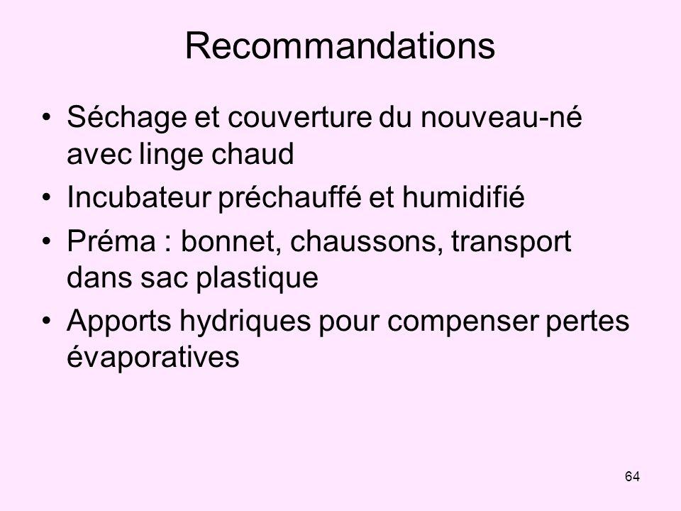 64 Recommandations Séchage et couverture du nouveau-né avec linge chaud Incubateur préchauffé et humidifié Préma : bonnet, chaussons, transport dans s