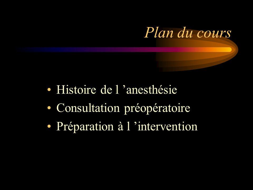 Plan du cours Histoire de l anesthésie Consultation préopératoire Préparation à l intervention