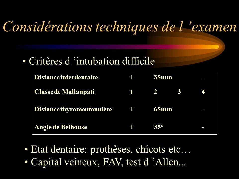 Considérations techniques de l examen Critères d intubation difficile Distance interdentaire+35mm- Classe de Mallanpati1234 Distance thyromentonnière+
