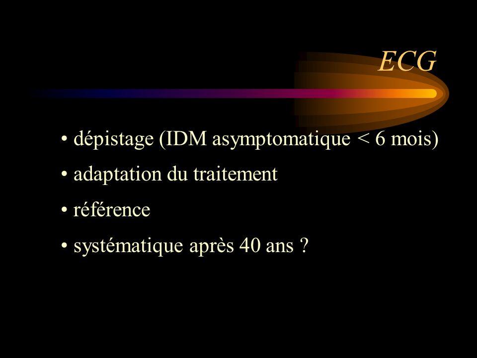 ECG dépistage (IDM asymptomatique < 6 mois) adaptation du traitement référence systématique après 40 ans ?