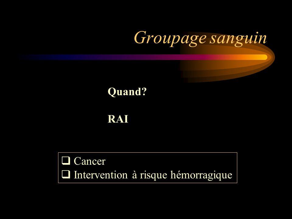 Groupage sanguin Quand? RAI Cancer Intervention à risque hémorragique