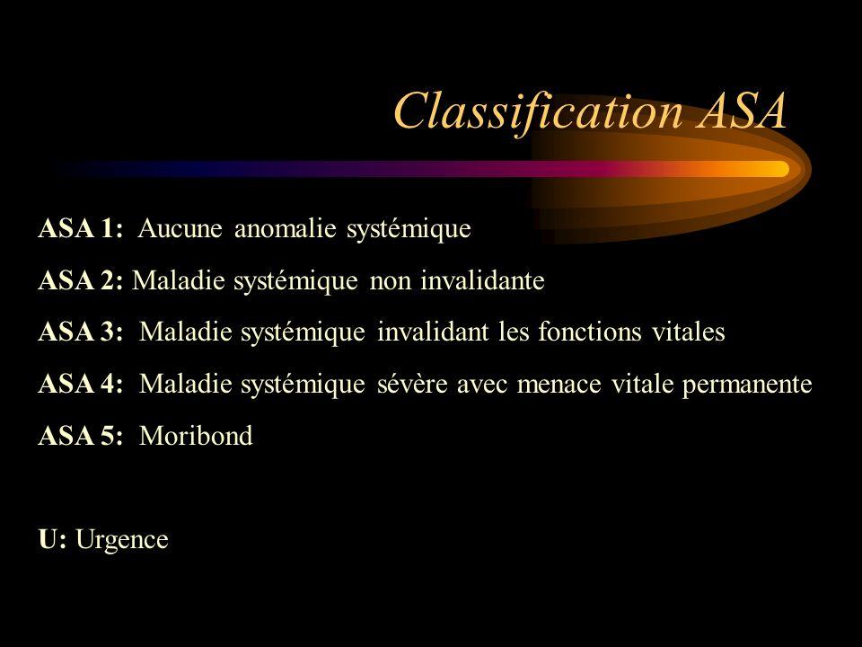 Classification ASA ASA 1: Aucune anomalie systémique ASA 2: Maladie systémique non invalidante ASA 3: Maladie systémique invalidant les fonctions vita