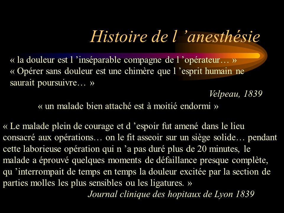 Histoire de l anesthésie « la douleur est l inséparable compagne de l opérateur… » « Opérer sans douleur est une chimère que l esprit humain ne saurai