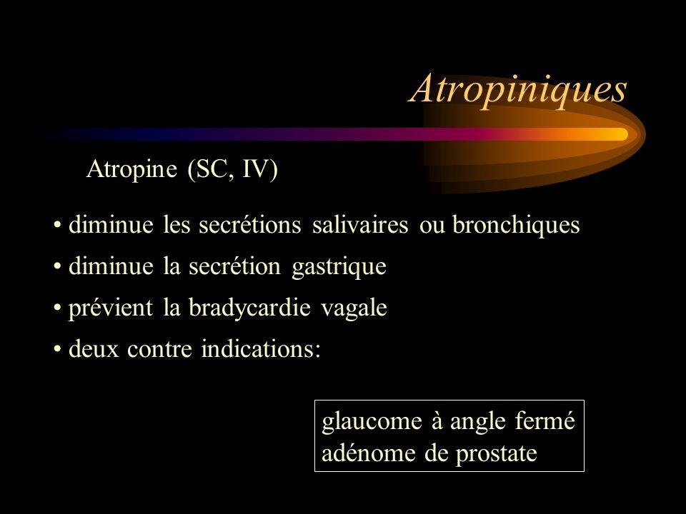 Atropiniques Atropine (SC, IV) diminue les secrétions salivaires ou bronchiques diminue la secrétion gastrique prévient la bradycardie vagale deux con