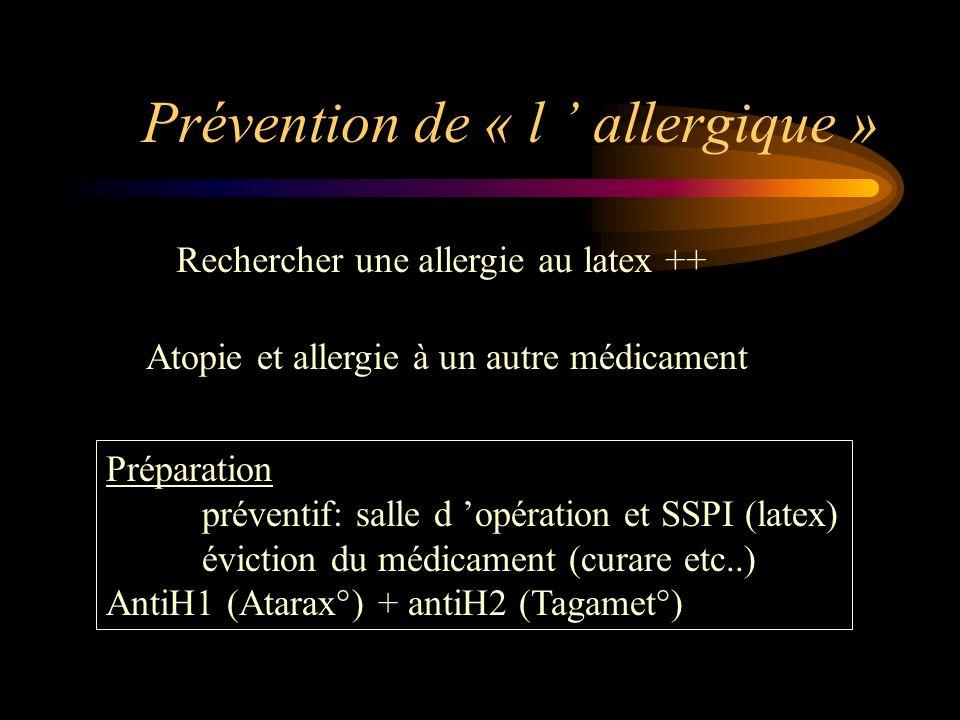 Prévention de « l allergique » Rechercher une allergie au latex ++ Atopie et allergie à un autre médicament Préparation préventif: salle d opération e