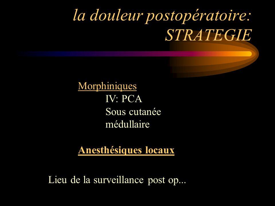 la douleur postopératoire: STRATEGIE Morphiniques IV: PCA Sous cutanée médullaire Anesthésiques locaux Lieu de la surveillance post op...