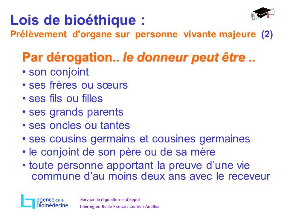 Service de régulation et dappui Interrégion Ile de France / Centre / Antilles Par dérogation..