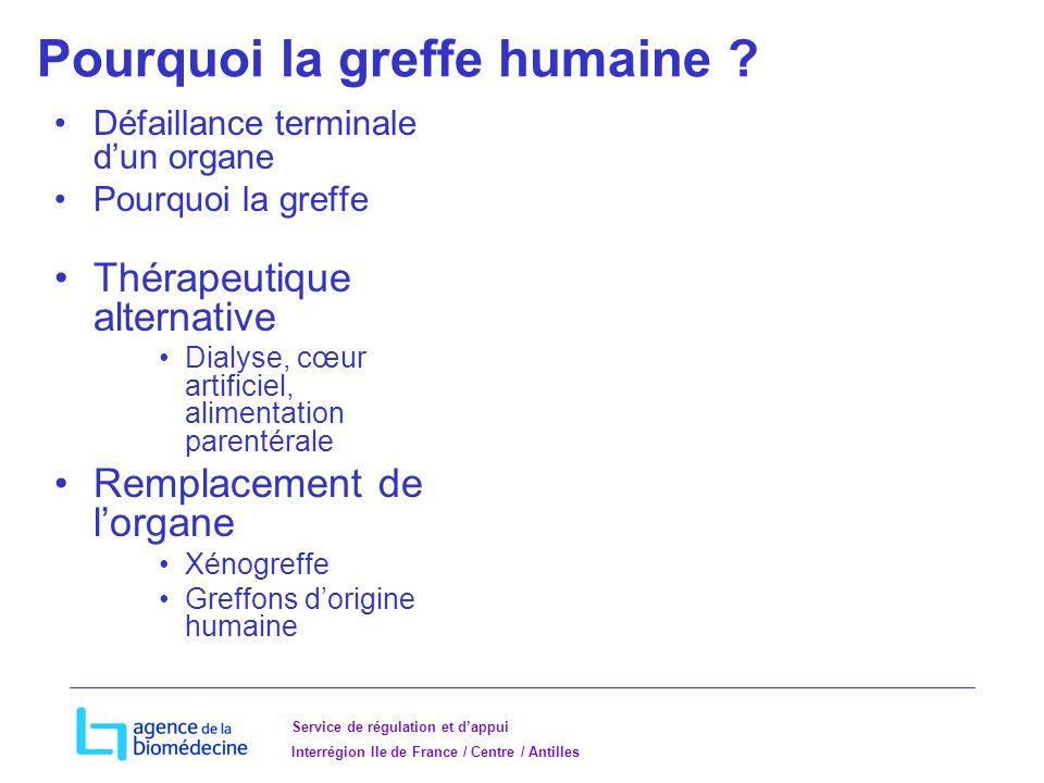 Service de régulation et dappui Interrégion Ile de France / Centre / Antilles Pourquoi la greffe humaine .