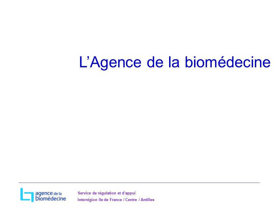 Service de régulation et dappui Interrégion Ile de France / Centre / Antilles LAgence de la biomédecine