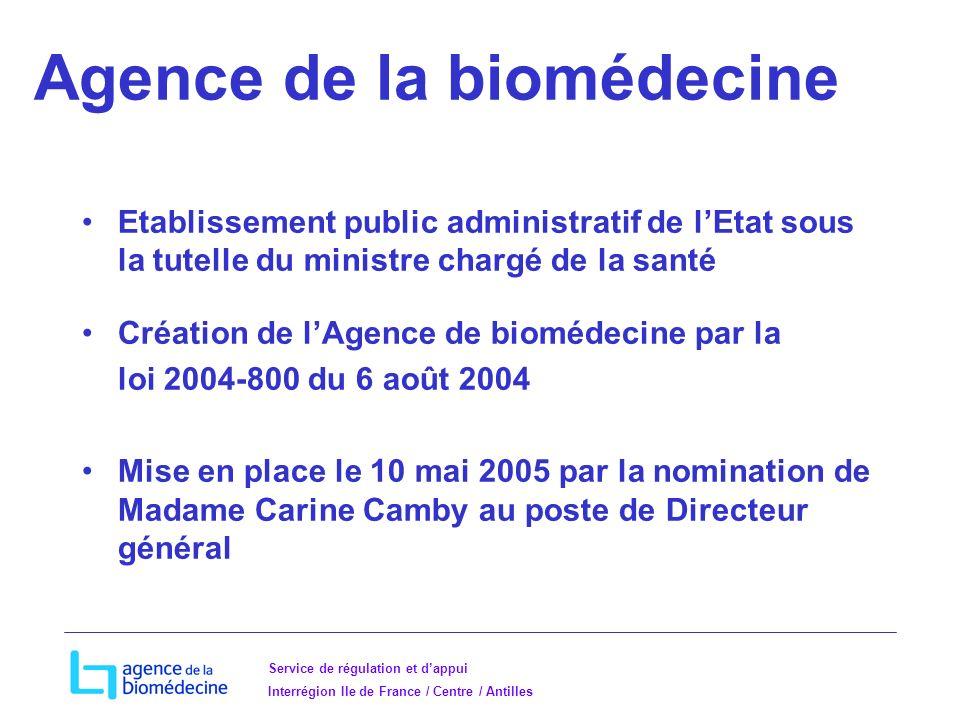 Service de régulation et dappui Interrégion Ile de France / Centre / Antilles Agence de la biomédecine Etablissement public administratif de lEtat sous la tutelle du ministre chargé de la santé Création de lAgence de biomédecine par la loi 2004-800 du 6 août 2004 Mise en place le 10 mai 2005 par la nomination de Madame Carine Camby au poste de Directeur général