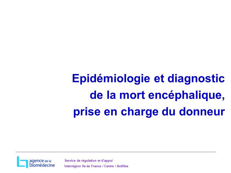 Service de régulation et dappui Interrégion Ile de France / Centre / Antilles Epidémiologie et diagnostic de la mort encéphalique, prise en charge du donneur