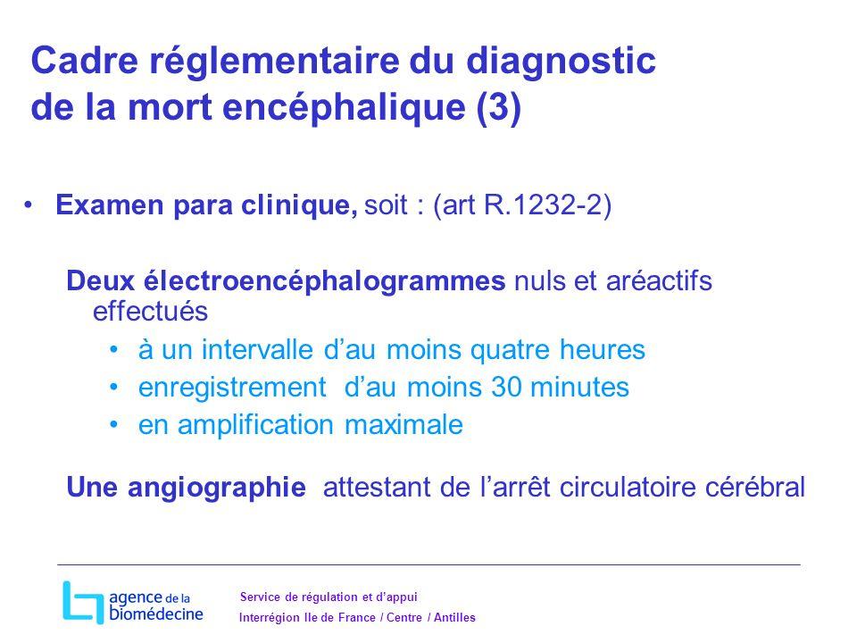 Service de régulation et dappui Interrégion Ile de France / Centre / Antilles Examen para clinique, soit : (art R.1232-2) Deux électroencéphalogrammes nuls et aréactifs effectués à un intervalle dau moins quatre heures enregistrement dau moins 30 minutes en amplification maximale Une angiographie attestant de larrêt circulatoire cérébral Cadre réglementaire du diagnostic de la mort encéphalique (3)