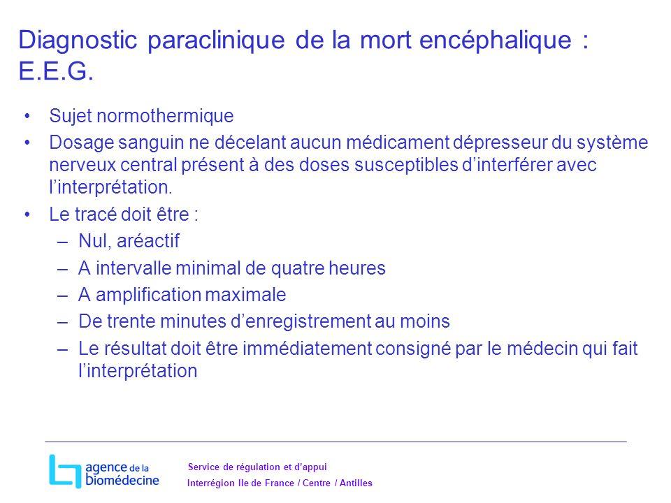 Service de régulation et dappui Interrégion Ile de France / Centre / Antilles Diagnostic paraclinique de la mort encéphalique : E.E.G.