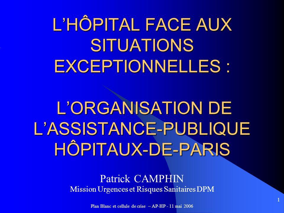 1 LHÔPITAL FACE AUX SITUATIONS EXCEPTIONNELLES : LORGANISATION DE LASSISTANCE-PUBLIQUE HÔPITAUX-DE-PARIS Patrick CAMPHIN Mission Urgences et Risques S
