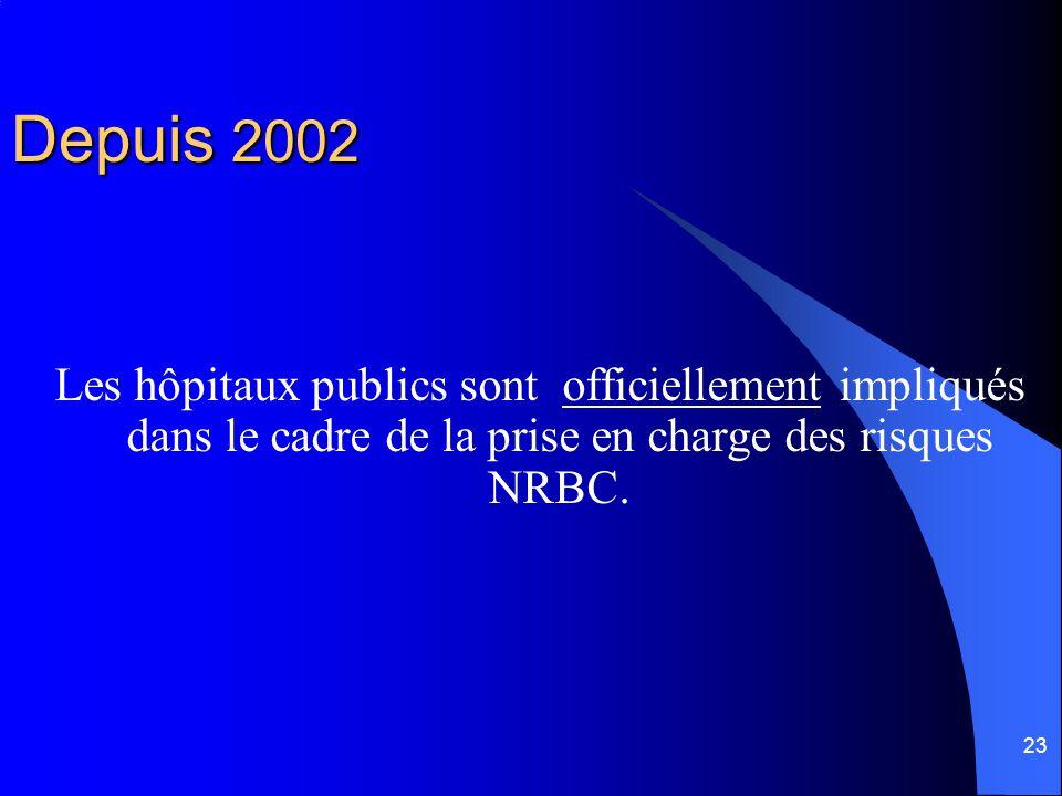 23 Depuis 2002 Les hôpitaux publics sont officiellement impliqués dans le cadre de la prise en charge des risques NRBC.