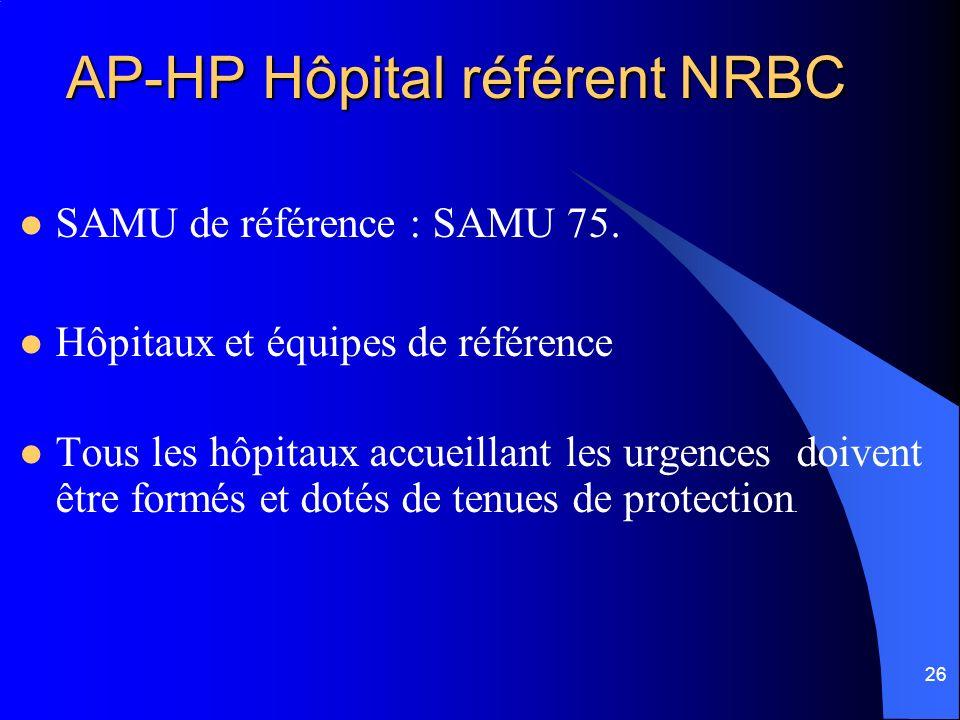 26 AP-HP Hôpital référent NRBC SAMU de référence : SAMU 75. Hôpitaux et équipes de référence Tous les hôpitaux accueillant les urgences doivent être f