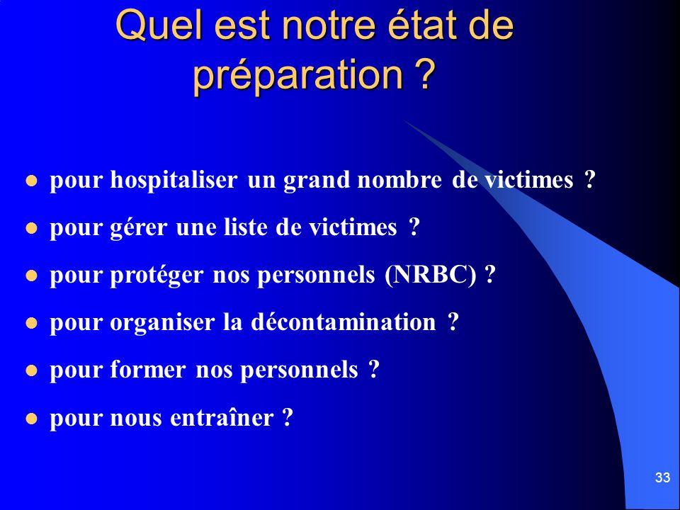 33 Quel est notre état de préparation ? pour hospitaliser un grand nombre de victimes ? pour gérer une liste de victimes ? pour protéger nos personnel