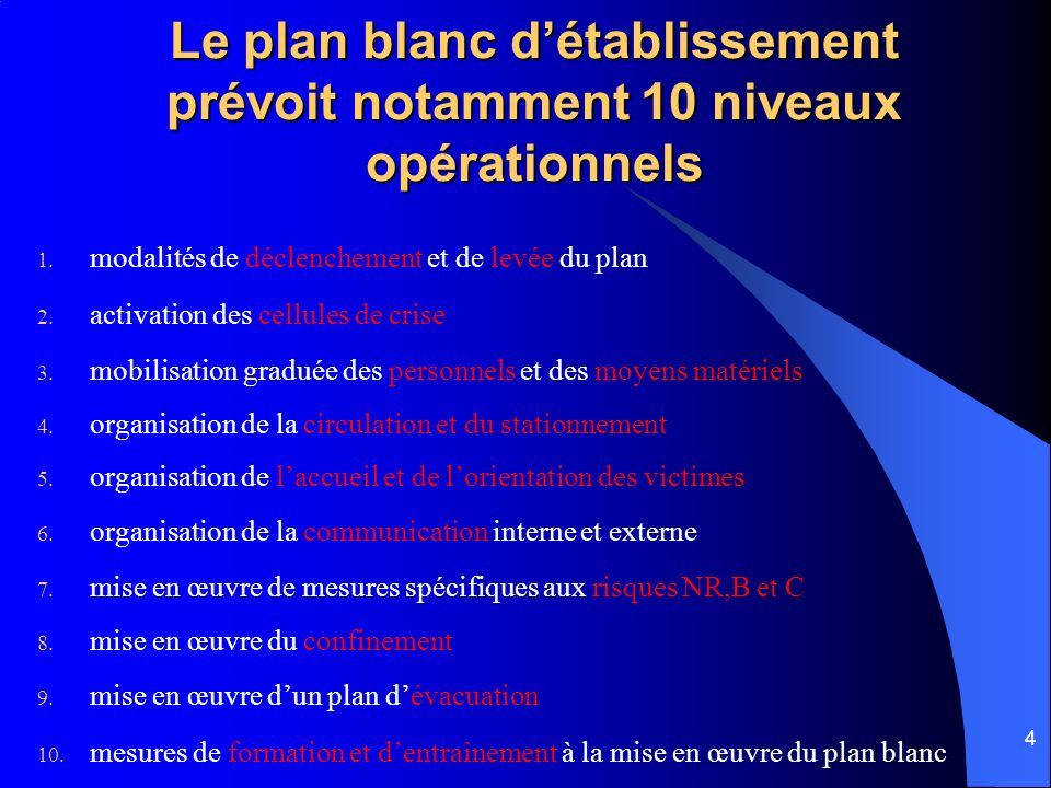 4 Le plan blanc détablissement prévoit notamment 10 niveaux opérationnels 1. modalités de déclenchement et de levée du plan 2. activation des cellules