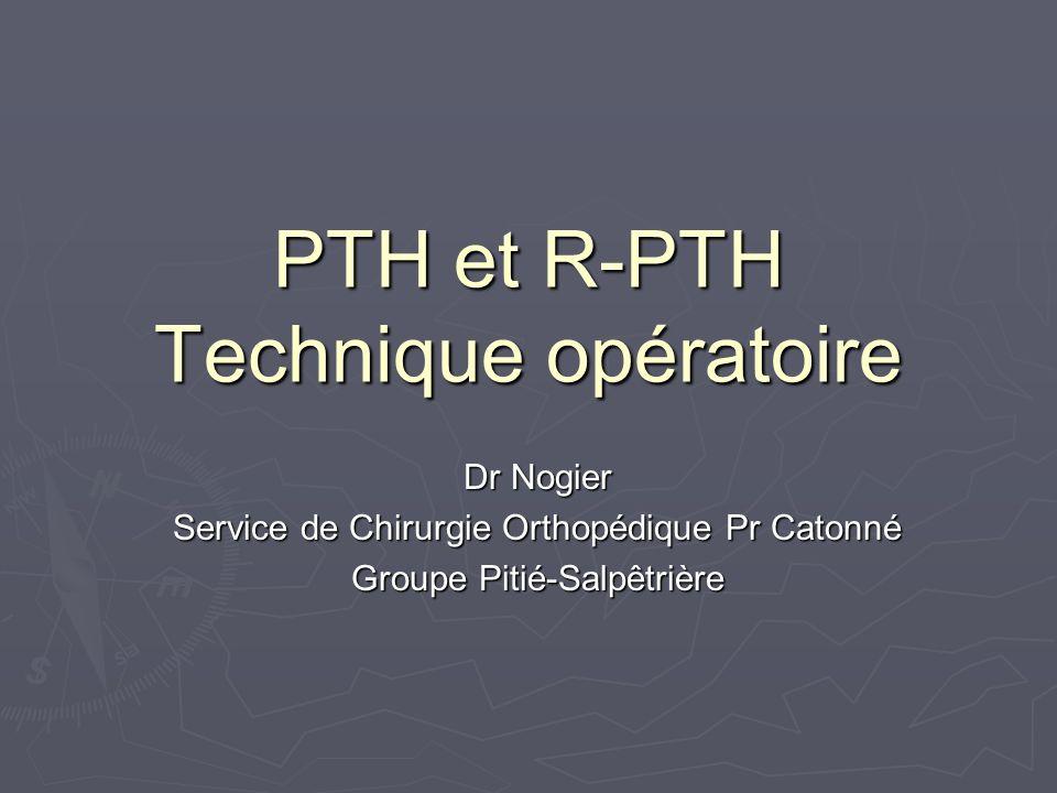PTH et R-PTH Technique opératoire Dr Nogier Service de Chirurgie Orthopédique Pr Catonné Groupe Pitié-Salpêtrière