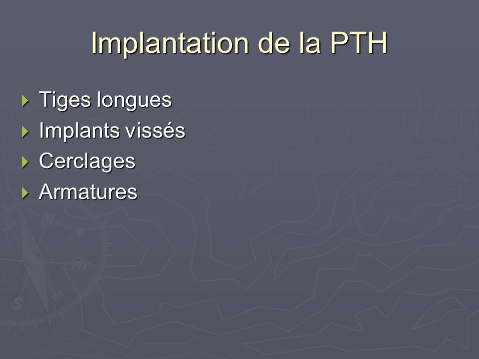 Implantation de la PTH Tiges longues Tiges longues Implants vissés Implants vissés Cerclages Cerclages Armatures Armatures