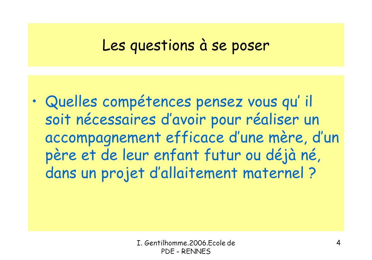 I. Gentilhomme.2006.Ecole de PDE - RENNES 24 Composition du lait maternel