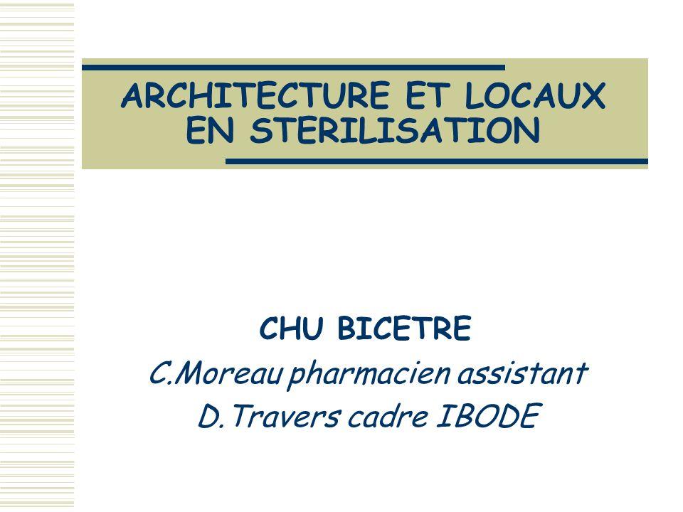 C.Moreau et D.Travers 14 décembre 2005 école IBODE PSL2 « Marche en avant » Progression des DM de l état « souillé » à l état « stérile » zone lavage (laveurs désinfecteurs ) conditionnement stérilisateurs double porte sortie stérile stockage distribution