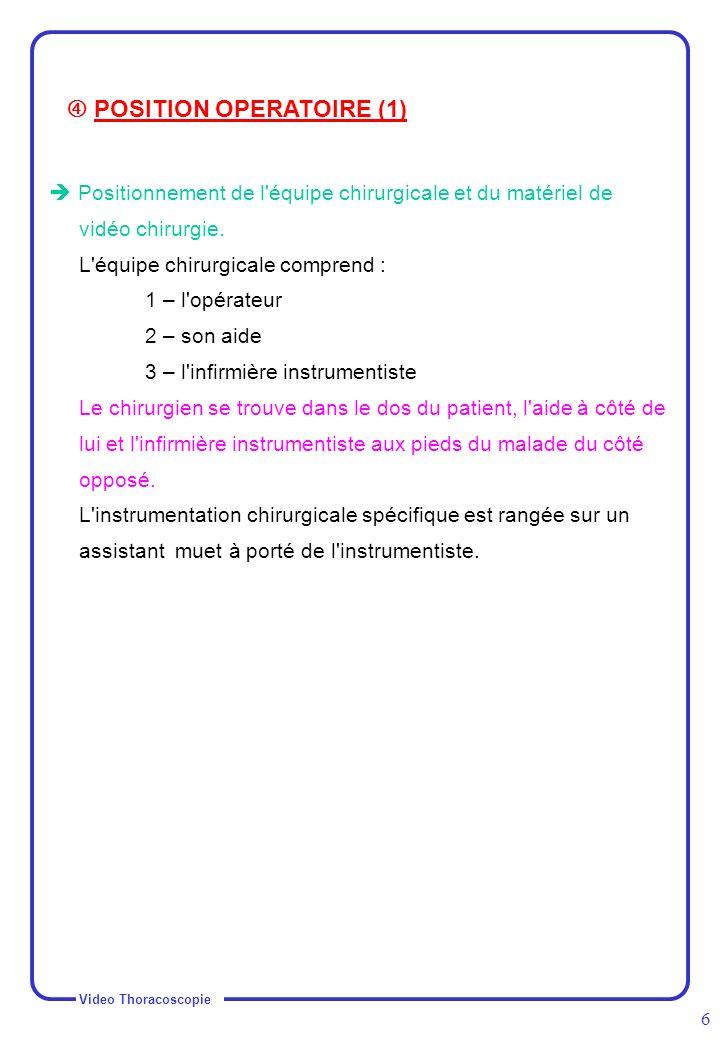 Video Thoracoscopie 7 Position opératoire du patient : La position la plus fréquemment utilisée est la position de thoracotomie postéro-latérale +++ : Le patient est en décubitus latéral sur le côté opposé au champ opératoire, légèrement penché en arrière.
