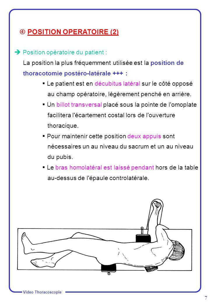 Video Thoracoscopie 7 Position opératoire du patient : La position la plus fréquemment utilisée est la position de thoracotomie postéro-latérale +++ :