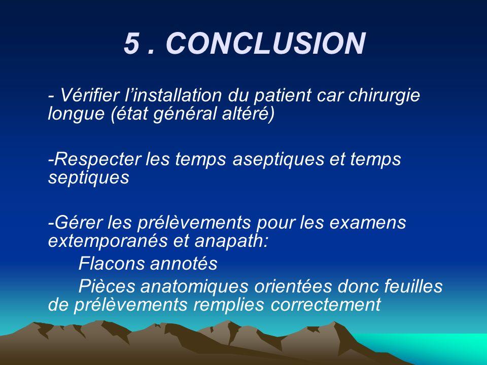 5. CONCLUSION - Vérifier linstallation du patient car chirurgie longue (état général altéré) -Respecter les temps aseptiques et temps septiques -Gérer