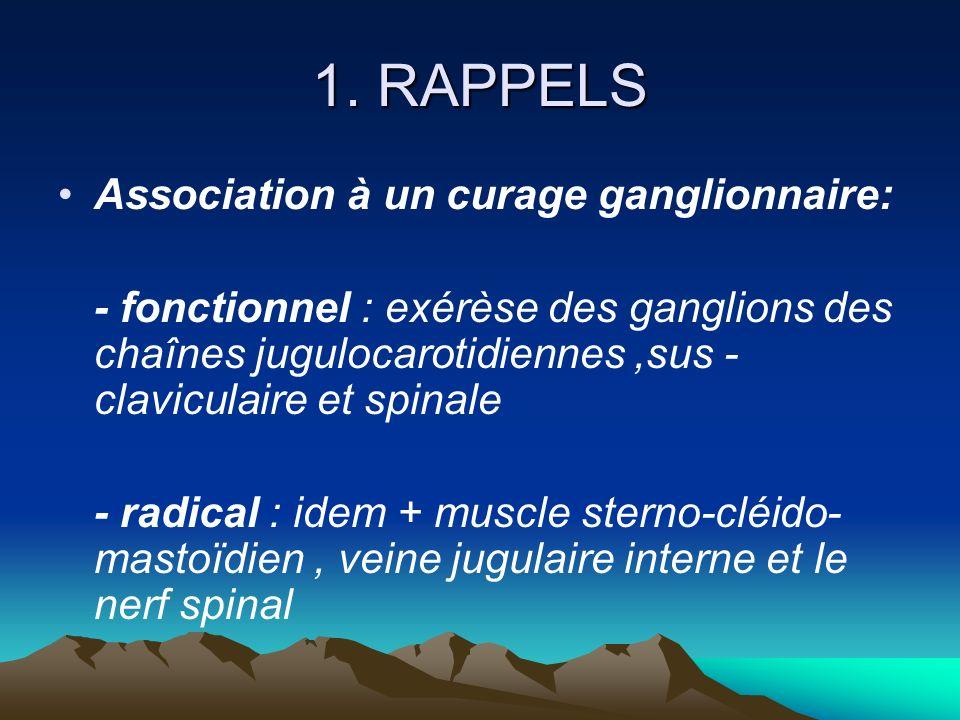 1. RAPPELS Association à un curage ganglionnaire: - fonctionnel : exérèse des ganglions des chaînes jugulocarotidiennes,sus - claviculaire et spinale
