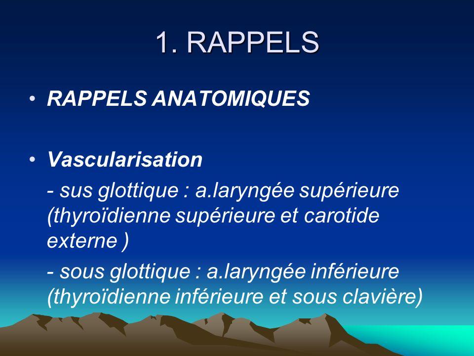 1. RAPPELS RAPPELS ANATOMIQUES Vascularisation - sus glottique : a.laryngée supérieure (thyroïdienne supérieure et carotide externe ) - sous glottique