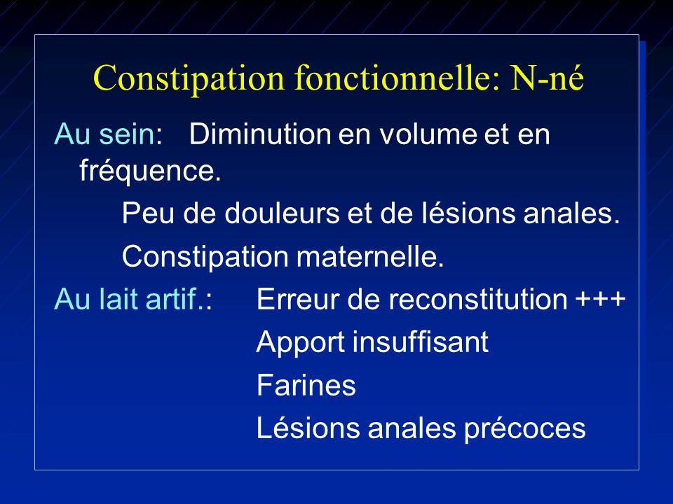 Constipation fonctionnelle: N-né Au sein: Diminution en volume et en fréquence. Peu de douleurs et de lésions anales. Constipation maternelle. Au lait
