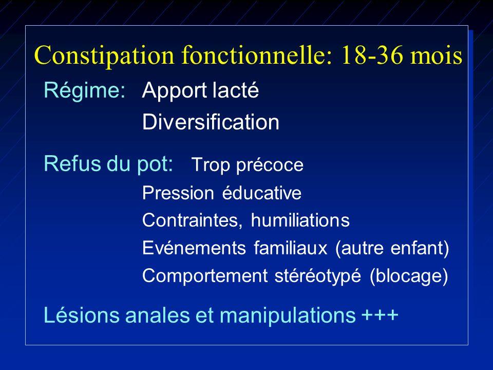 Constipation fonctionnelle: 18-36 mois Régime: Apport lacté Diversification Refus du pot: Trop précoce Pression éducative Contraintes, humiliations Ev